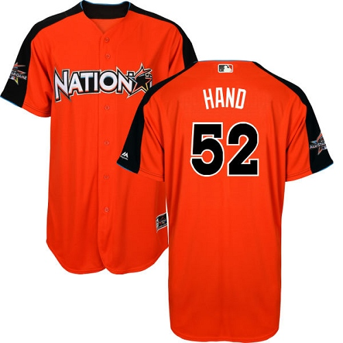 Men's Majestic San Diego Padres #52 Brad Hand Authentic Orange National League 2017 MLB All-Star MLB Jersey