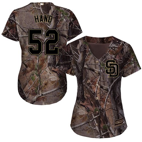 Women's Majestic San Diego Padres #52 Brad Hand Authentic Camo Realtree Collection Flex Base MLB Jersey