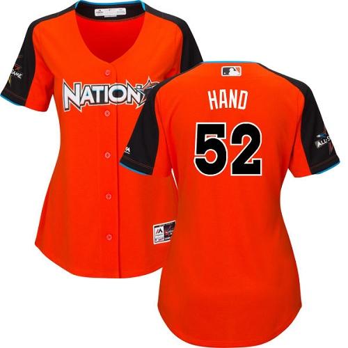 Women's Majestic San Diego Padres #52 Brad Hand Replica Orange National League 2017 MLB All-Star Cool Base MLB Jersey
