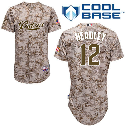 Men's Majestic San Diego Padres #12 Chase Headley Authentic Camo Alternate 2 Cool Base MLB Jersey