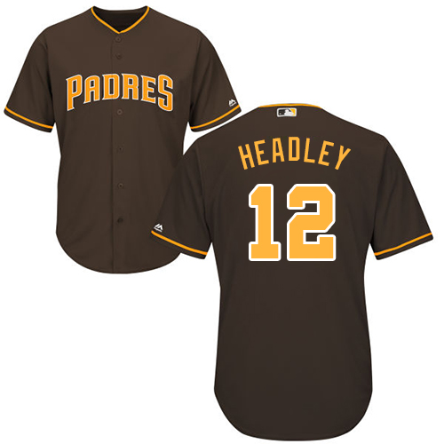 Men's Majestic San Diego Padres #12 Chase Headley Replica Brown Alternate Cool Base MLB Jersey