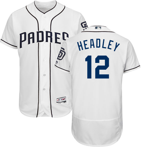 Men's Majestic San Diego Padres #12 Chase Headley White Home Flex Base Authentic Collection MLB Jersey