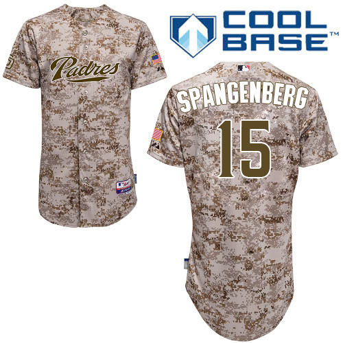 Men's Majestic San Diego Padres #15 Cory Spangenberg Authentic Camo Alternate 2 Cool Base MLB Jersey
