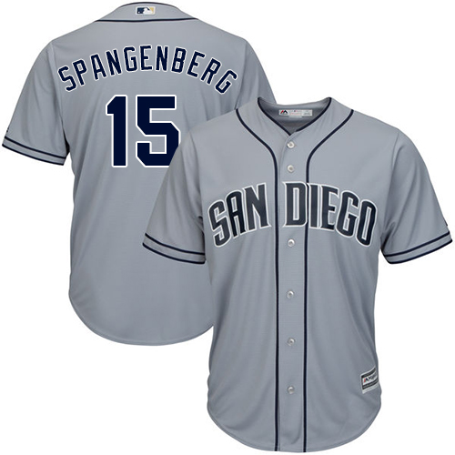 Men's Majestic San Diego Padres #15 Cory Spangenberg Authentic Grey Road Cool Base MLB Jersey