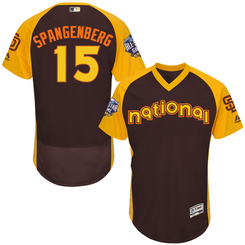 Men's Majestic San Diego Padres #15 Cory Spangenberg Brown 2016 All-Star National League BP Authentic Collection Flex Base MLB Jersey