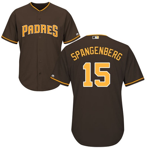 Men's Majestic San Diego Padres #15 Cory Spangenberg Replica Brown Alternate Cool Base MLB Jersey