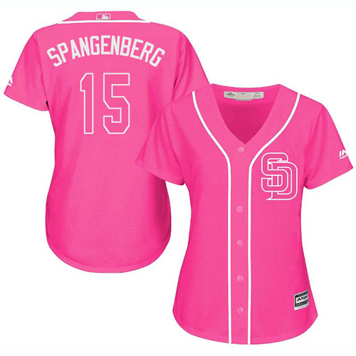 Women's Majestic San Diego Padres #15 Cory Spangenberg Authentic Pink Fashion Cool Base MLB Jersey