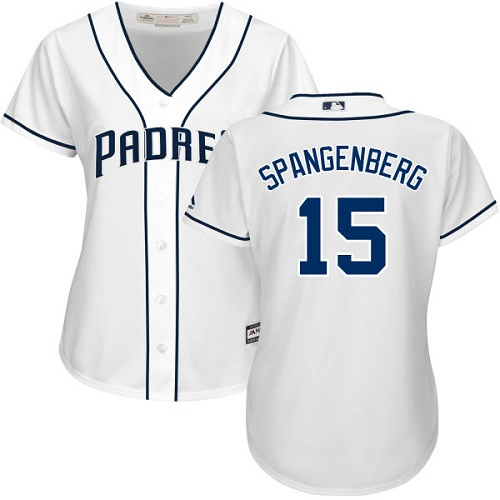 Women's Majestic San Diego Padres #15 Cory Spangenberg Authentic White Home Cool Base MLB Jersey