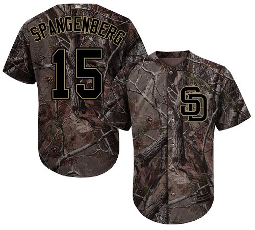 Youth Majestic San Diego Padres #15 Cory Spangenberg Authentic Camo Realtree Collection Flex Base MLB Jersey