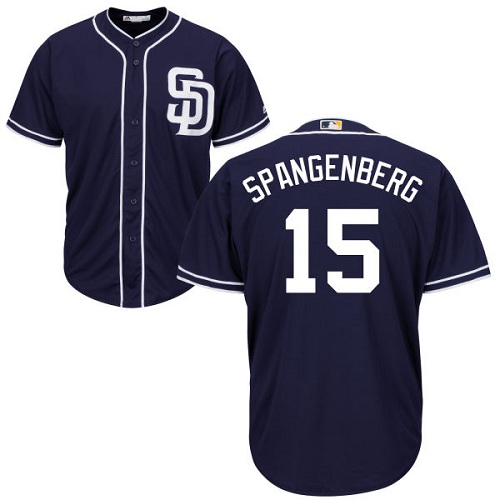 Youth Majestic San Diego Padres #15 Cory Spangenberg Authentic Navy Blue Alternate 1 Cool Base MLB Jersey
