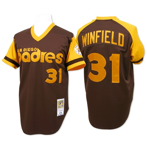Men's Mitchell and Ness San Diego Padres #31 Dave Winfield Replica Brown Throwback MLB Jersey