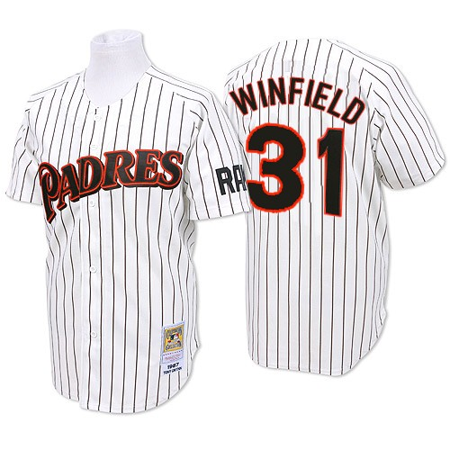 Men's Mitchell and Ness San Diego Padres #31 Dave Winfield Replica White/Blue Strip Throwback MLB Jersey