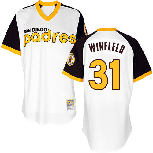 Men's Mitchell and Ness San Diego Padres #31 Dave Winfield Replica White Throwback MLB Jersey
