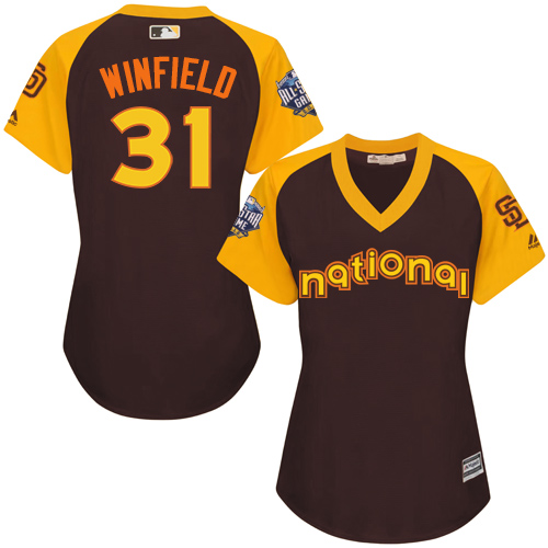 Women's Majestic San Diego Padres #31 Dave Winfield Authentic Brown 2016 All-Star National League BP Cool Base Cool Base MLB Jersey