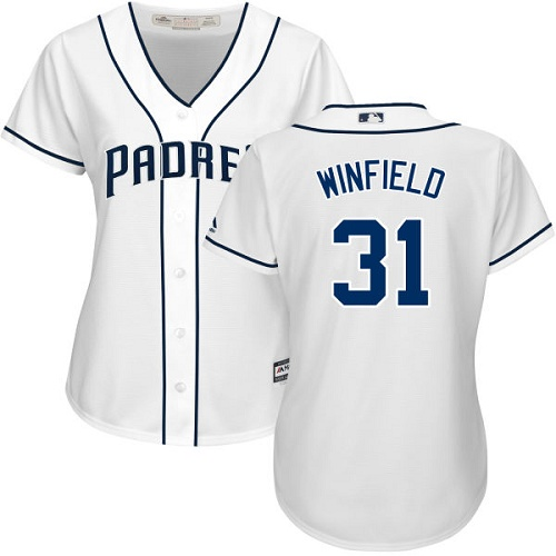 Women's Majestic San Diego Padres #31 Dave Winfield Replica White Home Cool Base MLB Jersey