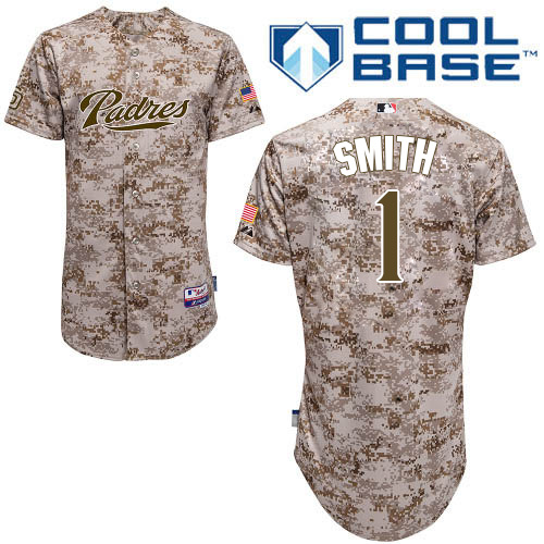 Men's Majestic San Diego Padres #1 Ozzie Smith Authentic Camo Alternate 2 Cool Base MLB Jersey