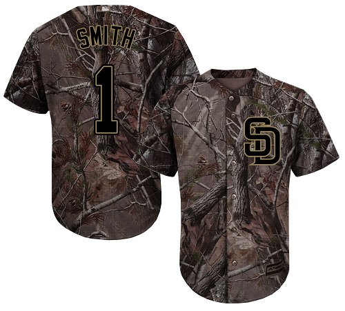 Men's Majestic San Diego Padres #1 Ozzie Smith Authentic Camo Realtree Collection Flex Base MLB Jersey