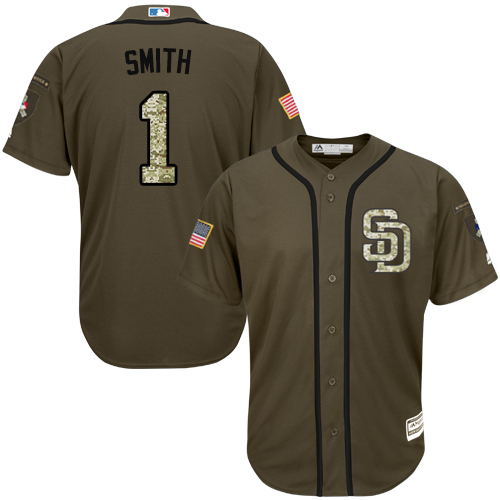 Men's Majestic San Diego Padres #1 Ozzie Smith Authentic Green Salute to Service MLB Jersey