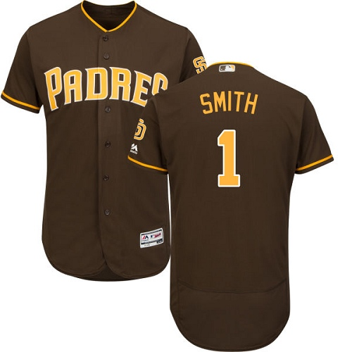 Men's Majestic San Diego Padres #1 Ozzie Smith Brown Alternate Flex Base Authentic Collection MLB Jersey