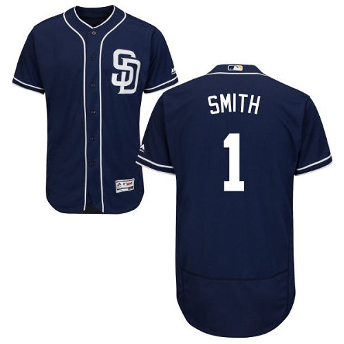 Men's Majestic San Diego Padres #1 Ozzie Smith Navy Blue Alternate Flexbase Authentic Collection MLB Jersey