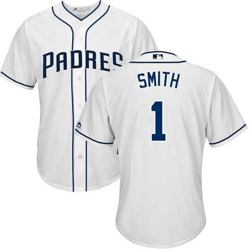 Men's Majestic San Diego Padres #1 Ozzie Smith Replica White Home Cool Base MLB Jersey