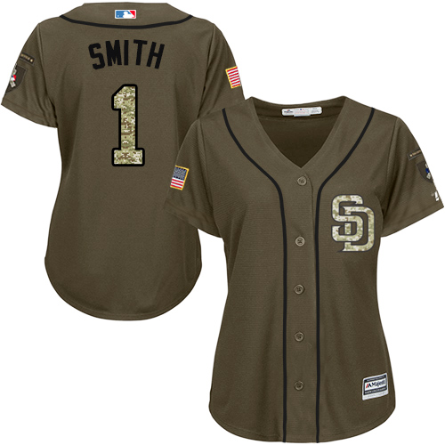 Women's Majestic San Diego Padres #1 Ozzie Smith Authentic Green Salute to Service Cool Base MLB Jersey