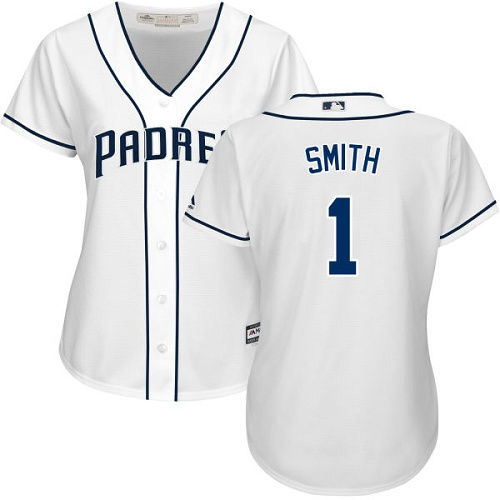 Women's Majestic San Diego Padres #1 Ozzie Smith Authentic White Home Cool Base MLB Jersey