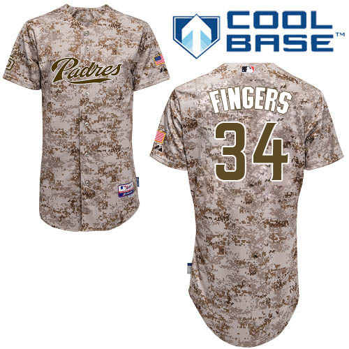Men's Majestic San Diego Padres #34 Rollie Fingers Authentic Camo Alternate 2 Cool Base MLB Jersey