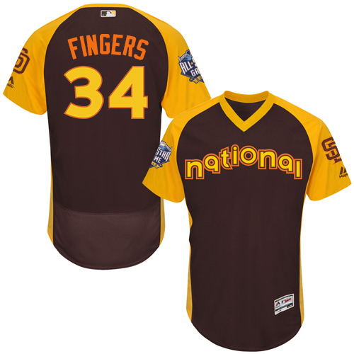 Men's Majestic San Diego Padres #34 Rollie Fingers Brown 2016 All-Star National League BP Authentic Collection Flex Base MLB Jersey