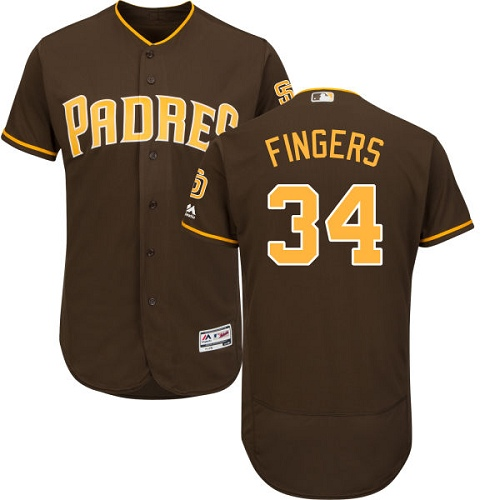 Men's Majestic San Diego Padres #34 Rollie Fingers Brown Alternate Flex Base Authentic Collection MLB Jersey