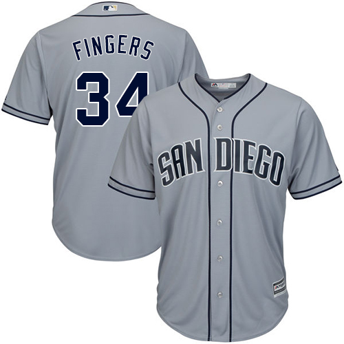 Men's Majestic San Diego Padres #34 Rollie Fingers Replica Grey Road Cool Base MLB Jersey