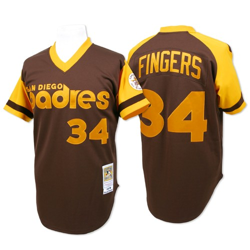Men's Mitchell and Ness San Diego Padres #34 Rollie Fingers Replica Brown Throwback MLB Jersey