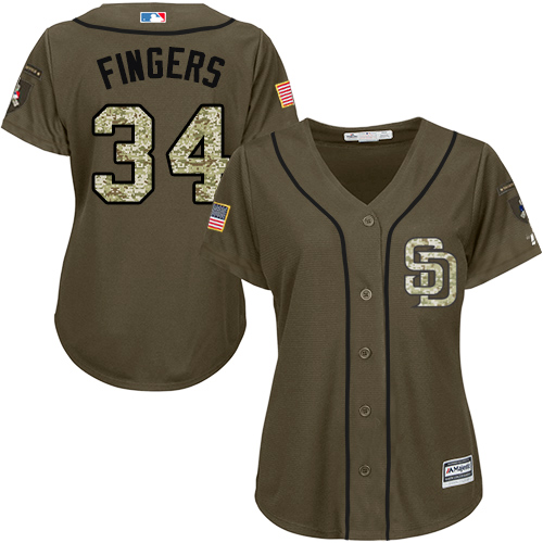 Women's Majestic San Diego Padres #34 Rollie Fingers Authentic Green Salute to Service Cool Base MLB Jersey