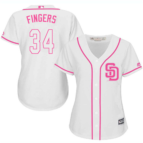 Women's Majestic San Diego Padres #34 Rollie Fingers Replica White Fashion Cool Base MLB Jersey
