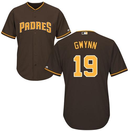 Men's Majestic San Diego Padres #19 Tony Gwynn Replica Brown Alternate Cool Base MLB Jersey