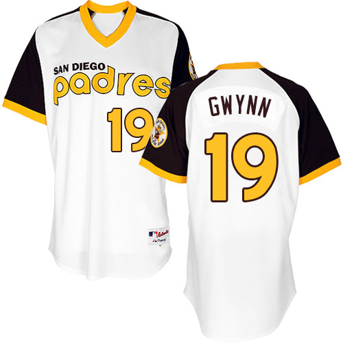 Men's Majestic San Diego Padres #19 Tony Gwynn Replica White 1978 Turn Back The Clock MLB Jersey