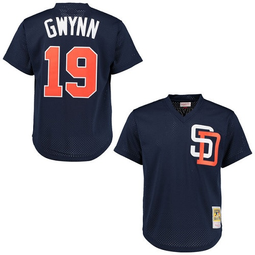 Men's Mitchell and Ness 1996 San Diego Padres #19 Tony Gwynn Replica Navy Blue Throwback MLB Jersey