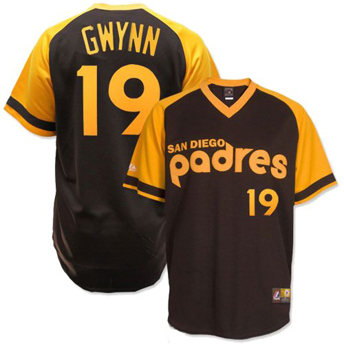 Men's Mitchell and Ness San Diego Padres #19 Tony Gwynn Replica Brown Throwback MLB Jersey