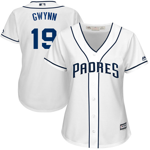 Women's Majestic San Diego Padres #19 Tony Gwynn Replica White Home Cool Base MLB Jersey