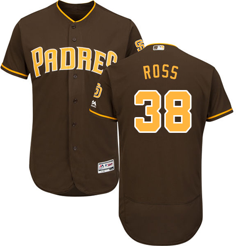 Men's Majestic San Diego Padres #38 Tyson Ross Brown Alternate Flex Base Authentic Collection MLB Jersey