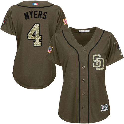 Women's Majestic San Diego Padres #4 Wil Myers Authentic Green Salute to Service Cool Base MLB Jersey