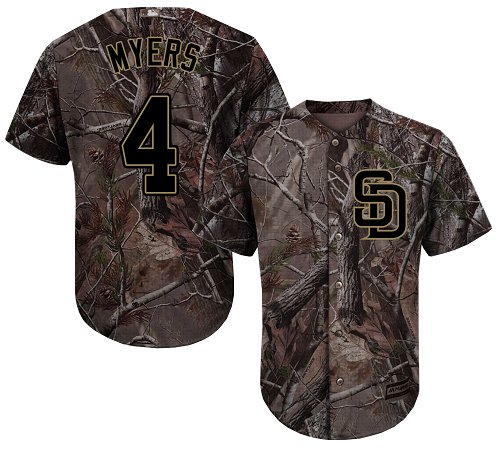 Youth Majestic San Diego Padres #4 Wil Myers Authentic Camo Realtree Collection Flex Base MLB Jersey