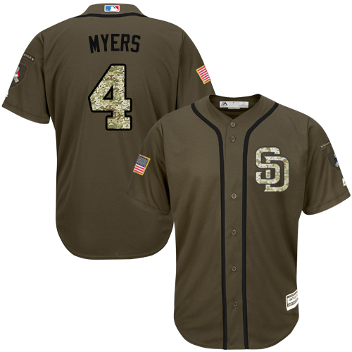Youth Majestic San Diego Padres #4 Wil Myers Authentic Green Salute to Service Cool Base MLB Jersey