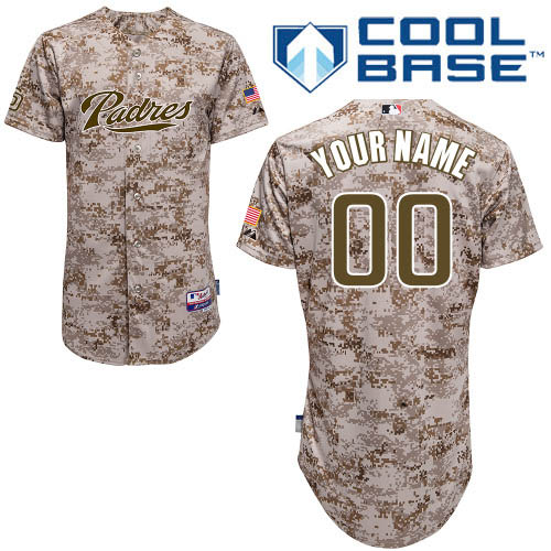 Men's Majestic San Diego Padres Customized Authentic Camo Alternate 2 Cool Base MLB Jersey