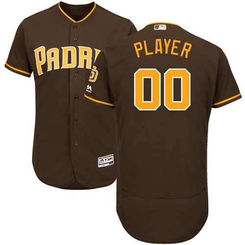 Men's Majestic San Diego Padres Customized Brown Alternate Flex Base Authentic Collection MLB Jersey