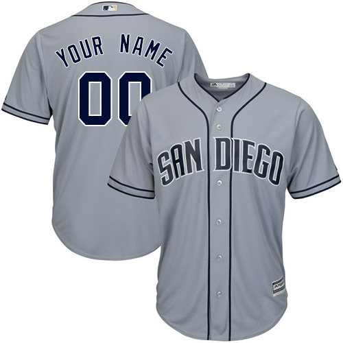 Men's Majestic San Diego Padres Customized Replica Grey Road Cool Base MLB Jersey
