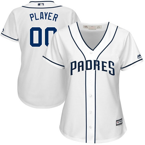 Women's Majestic San Diego Padres Customized Replica White Home Cool Base MLB Jersey