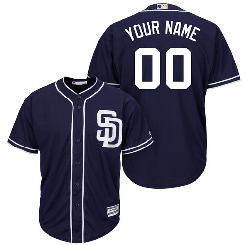 Youth Majestic San Diego Padres Customized Authentic Navy Blue Alternate 1 Cool Base MLB Jersey