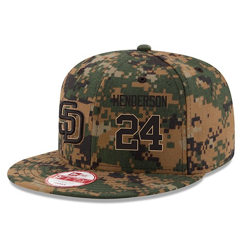 MLB Men's San Diego Padres #24 Rickey Henderson New Era Digital Camo 2016 Memorial Day 9FIFTY Snapback Adjustable Hat