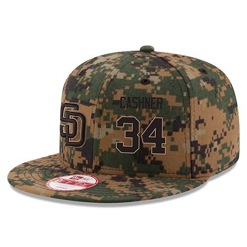 MLB Men's San Diego Padres #34 Andrew Cashner New Era Digital Camo 2016 Memorial Day 9FIFTY Snapback Adjustable Hat